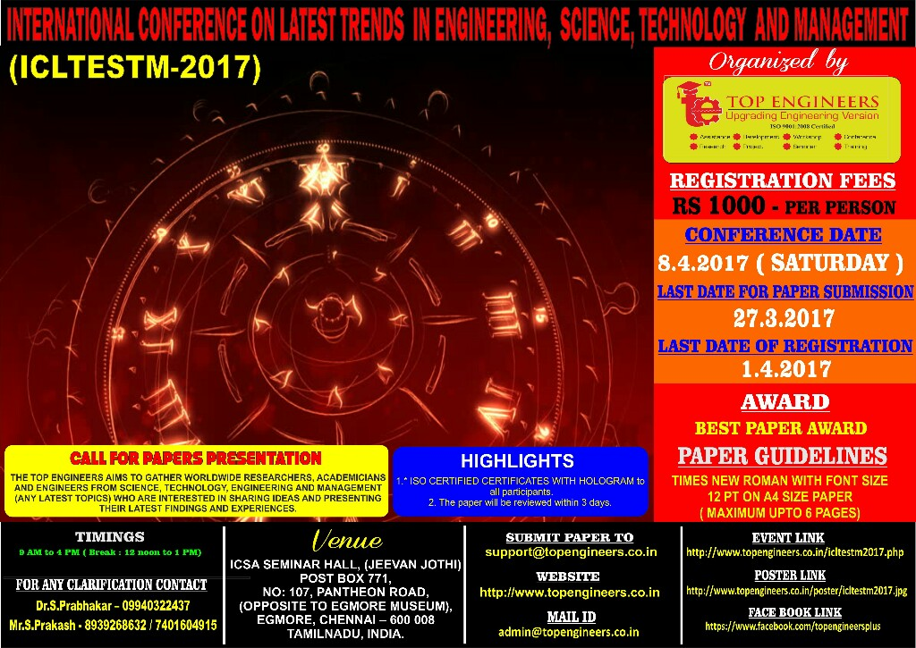INTERNATIONAL CONFERENCE ON LATEST TRENDS IN ENGINEERING, SCIENCE,  TECHNOLOGY AND MANAGEMENT (ICLTESTM-2017)
